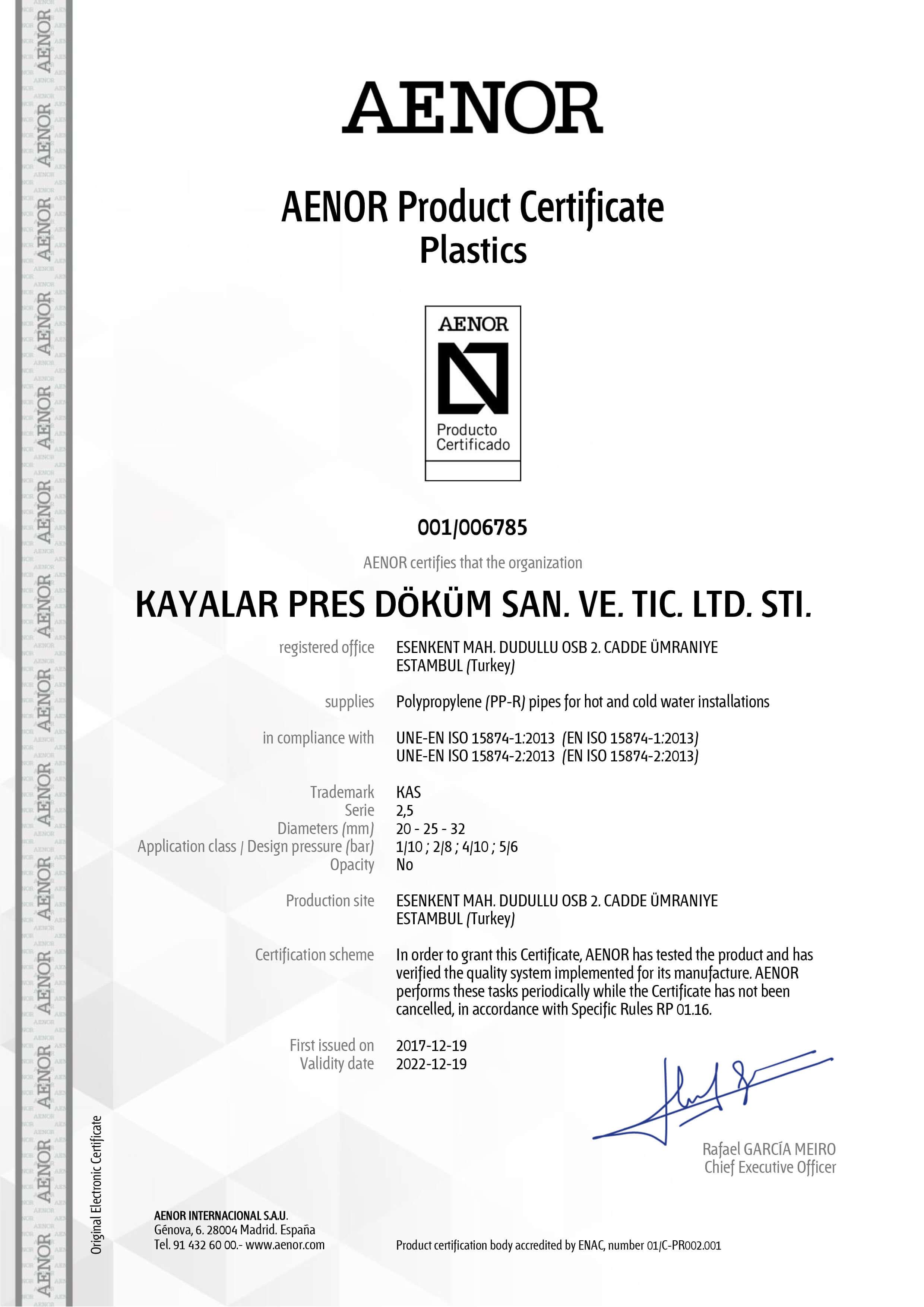 AENOR Product Certificate Plastics