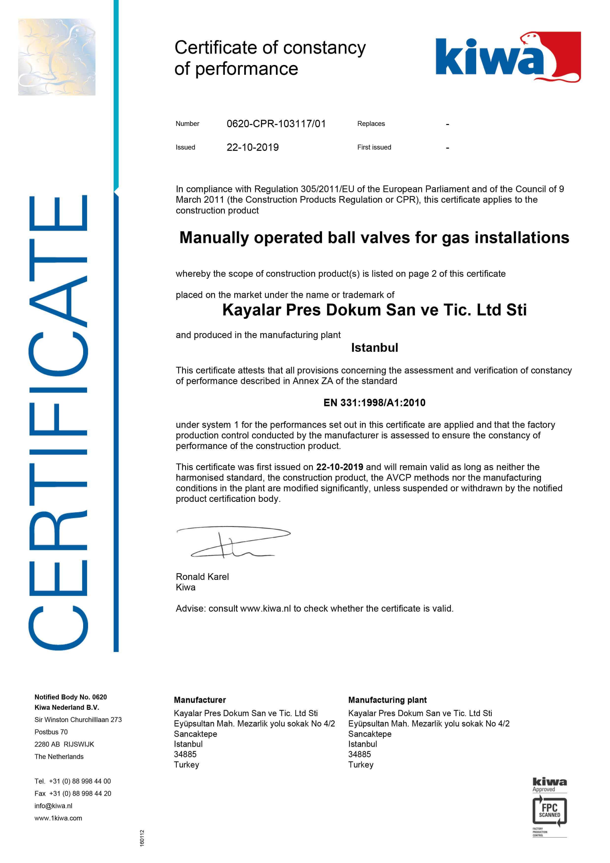 EN 331 Valve Group CE Declaration-1