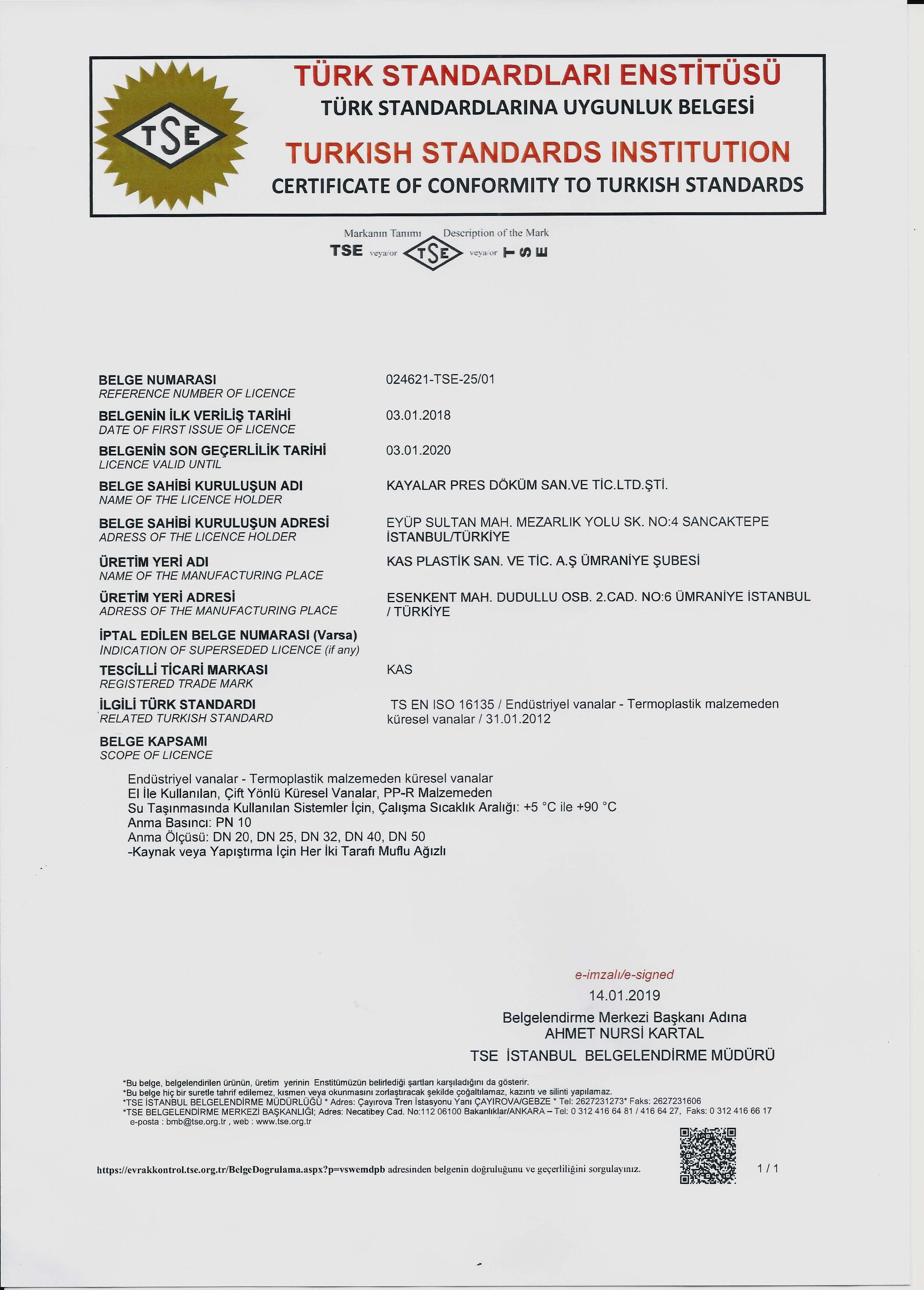 PLASTIC BALL VALVES (TS EN ISO 16135)